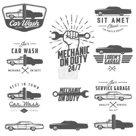 Illustration pour Ensemble d'étiquettes de service automobile, d'emblèmes et d'éléments de design - image libre de droit