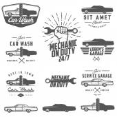 Set of car service labels emblems and design elements