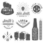 Vintage craft beer brewery emblems labels and design elements