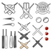 Set of cricket team logo emblem design elements