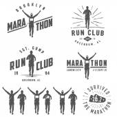 Set of vintage run club labels emblems and design elements