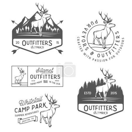 """Illustration pour Ensemble d """"étiquettes d'extérieur vintage, badges et éléments de design - image libre de droit"""