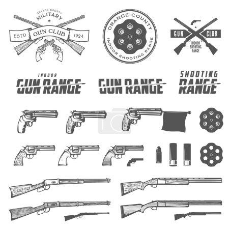 Illustration pour Ensemble d'étiquettes d'armes rétro, d'emblèmes et d'éléments de design - image libre de droit