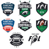American football fantasy league labels emblems and design elements