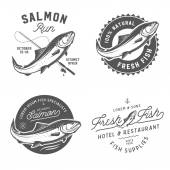 Vintage fresh fish salmon emblems badges and design elements set