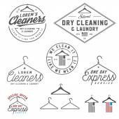 Vintage dry cleaning emblems labels and design elements