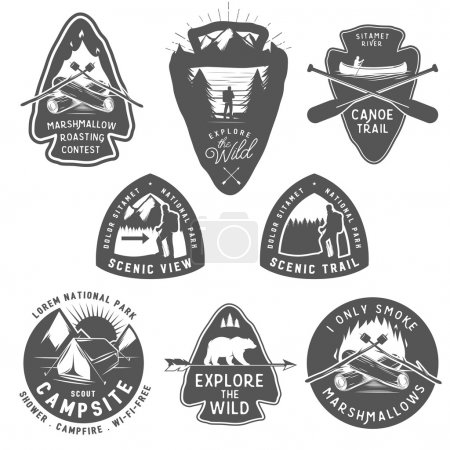Vintage camping and hiking labels, badges, design elements