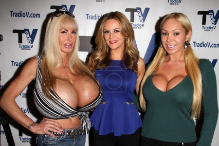 """Photo for Elizabeth Starr, Jessica Kinni, Mary Carey on the set of """"Politically Naughty with Mary Carey,"""" TradioV Studios, Los Angeles, CA 12-09-13 - Royalty Free Image"""
