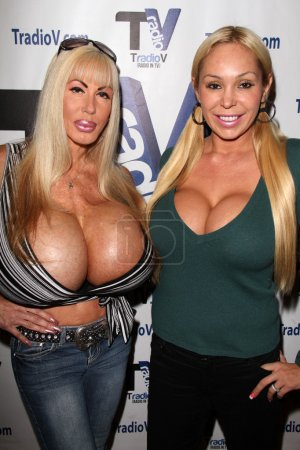 """Photo for Elizabeth Starr, Mary Carey on the set of """"Politically Naughty with Mary Carey,"""" TradioV Studios, Los Angeles, CA 12-09-13 - Royalty Free Image"""