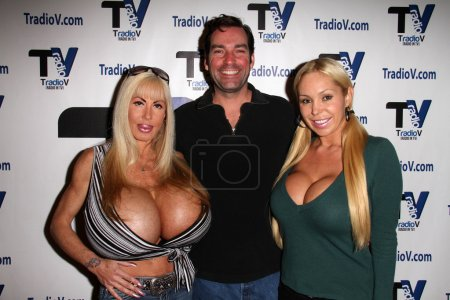 """Photo for Elizabeth Starr, Dave Wurmlinger, Mary Carey on the set of """"Politically Naughty with Mary Carey,"""" TradioV Studios, Los Angeles, CA 12-09-13 - Royalty Free Image"""