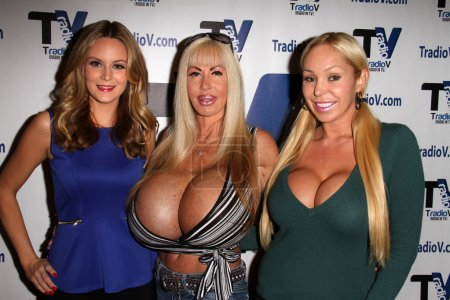 "Photo for Jessica Kinni, Elizabeth Starr, Mary Carey on the set of ""Politically Naughty with Mary Carey,"" TradioV Studios, Los Angeles, CA 12-09-13 - Royalty Free Image"