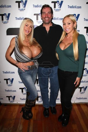 "Photo for Elizabeth Starr, Dave Wurmlinger, Mary Carey on the set of ""Politically Naughty with Mary Carey,"" TradioV Studios, Los Angeles, CA 12-09-13 - Royalty Free Image"