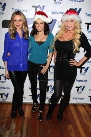 "Photo for Jessica Kinni, Erika Jordan, Mary Carey on the set of ""Politically Naughty with Mary Carey"", TradioV Studios, Los Angeles, CA 12-16-13 - Royalty Free Image"