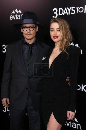 "Photo for Johnny Depp, Amber Heard at ""3 Days To Kill"" Los Angeles Premiere, Arclight Cinemas, Hollywood, CA 02-12-14 - Royalty Free Image"