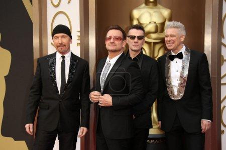 Photo pour Bande d'U2 à la 86e academy annuelle awards - arrivals, théâtre de dolby, hollywood, ca 02/03/14 - image libre de droit