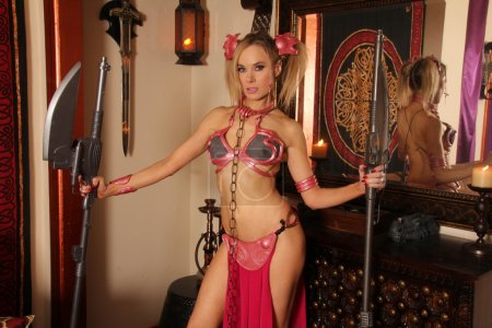 Photo for Paula Labaredas wears her custom Pink Slave Leia costume, made by Jamin Fite to celebrate May The Fourth Official Star Wars Day, Private Location, Hollywood, CA 05-04-15 - Royalty Free Image