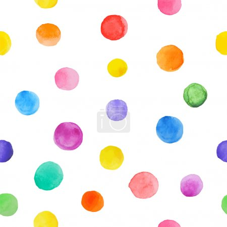 Illustration for Colorful paint watercolor seamless pattern. Abstract vector seamless pattern. Watercolor polka dot. Bright splashes isolated on white - Royalty Free Image