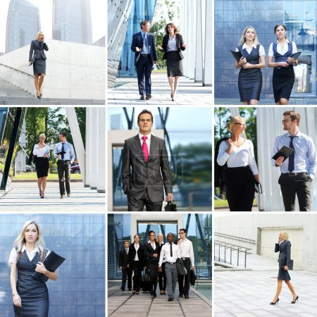 Collection of photos with many business people in formal wear walking outdoor