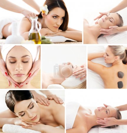 Set of photos with beautiful women on different massage procedures