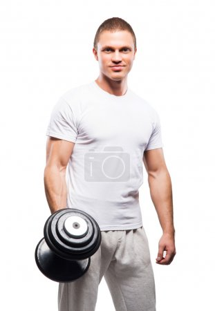 Strong, fit and sporty bodybuilder man isolated on white