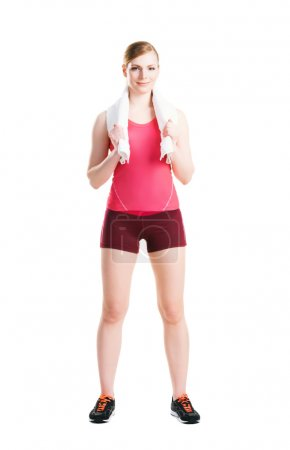 Fit woman doing physical exercises