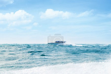 Big and luxury motorboat in the sea