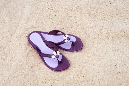 Beautiful purple flip-flops on the beach