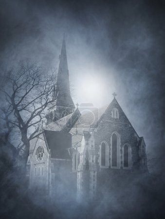 Halloween background with ancient church