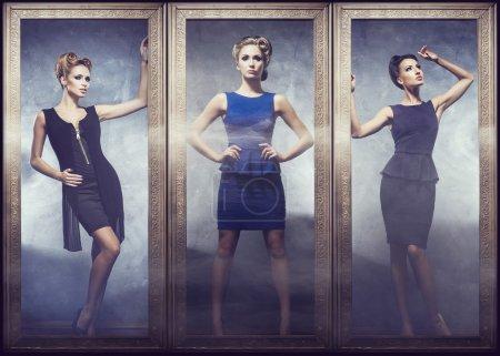 Beautiful women in fashion dresses