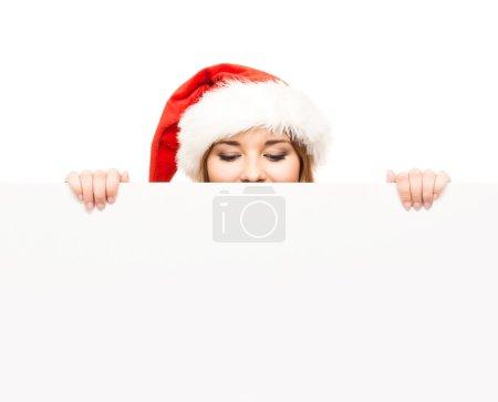 Christmas girl with  banner