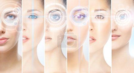 Women with digital laser hologram on eyes