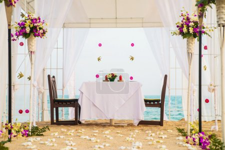 Romantic honeymoon dining place on beach