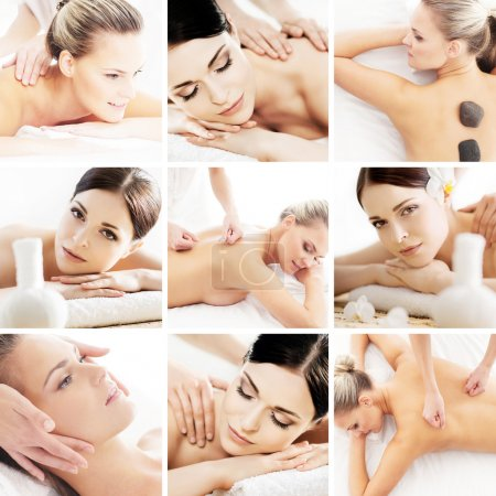 Spa and massage collage with young women