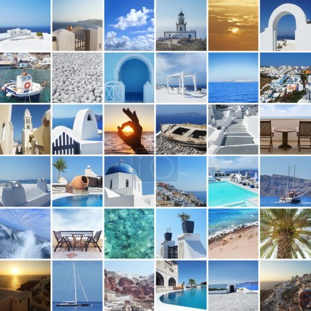 Photo for Set of different Santorini photos. Rest and traveling in Greece concept. - Royalty Free Image