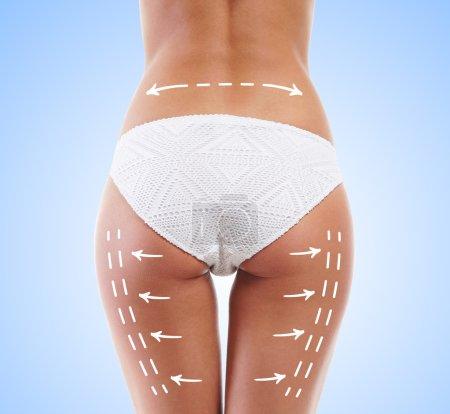 Sexy female body with arrows