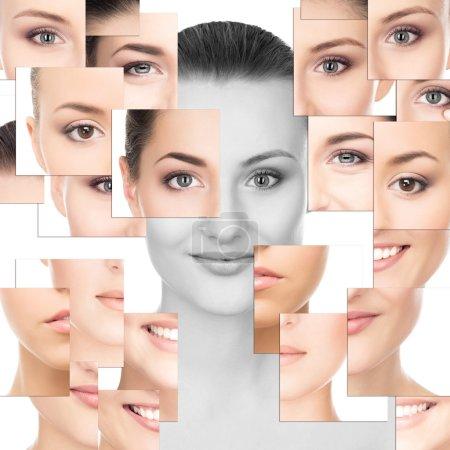 Photo pour Portrait d'une partie jeune, saine et belle des visages féminins (chirurgie plastique, médecine, spa, cosmétique et concept visage) ) - image libre de droit