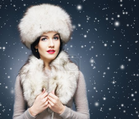 Woman in Russian winter clothes