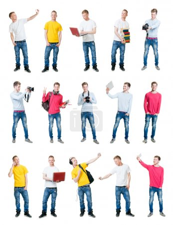 Collection of young handsome male students having fun on isolated background