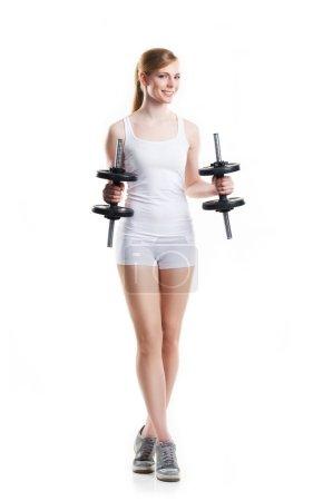 girl in sportswear having training