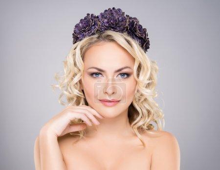 sexy woman wearing a purple headband