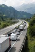 Vehicles near Gotthard tunnel