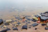 rocks in the sea, long exposure