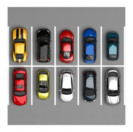 Photo for Parking cars top view - Royalty Free Image