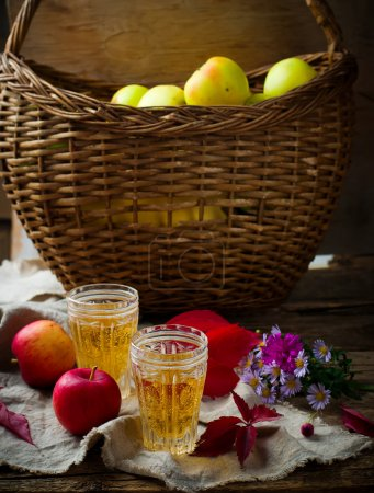 Apple cider in vintage glass glasses