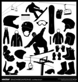 Snowboarding elements vector set