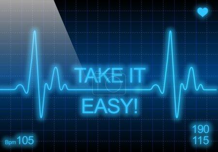 Photo pour Aller Mollo - écrit le cardiofréquencemètre bleu, exprimant les avertissement sur affection cardiaque - image libre de droit