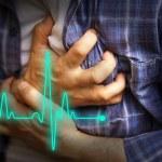 Men in blue shirt having chest pain - heart attack...