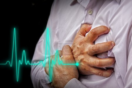 Men in white shirt having chest pain - heart attac...