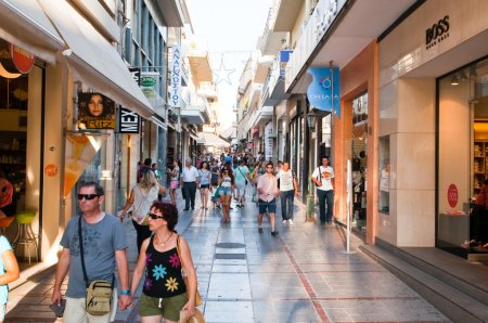 Photo for Shopping street Dedalou on July 25,2014 in Heraklion on the Crete. - Royalty Free Image