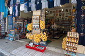 ATHENS-AUGUST 22: Traditional Greek goods displayed for sale in Plaka area on August 22, 2014 in Athens, Greece. Pláka is the old neighbourhood of Athens, clustered around the slopes of Acropolis.